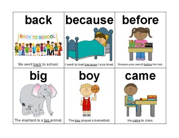 Fry's Sight Words - Sentence & Picture Flash Cards (Group 2 of 10)