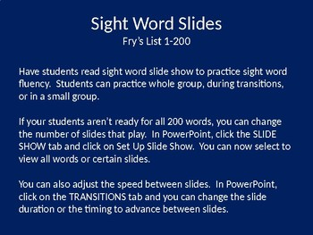 Fry's Sight Words Powerpoint Slides