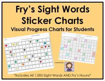 Fry's Sight Words Sticker Progress Charts