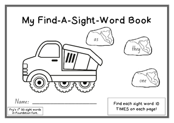Fry's Sight words FIND n COLOR booklet 1st 30 words