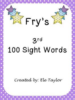 Fry's Third 100 Sight Words/High Frequency Words!