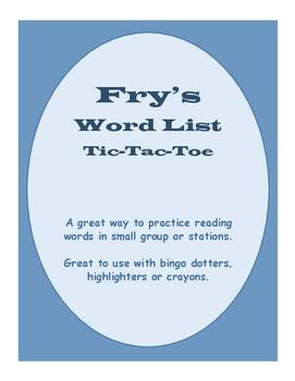 Fry's Tic Tac Toe Sheets