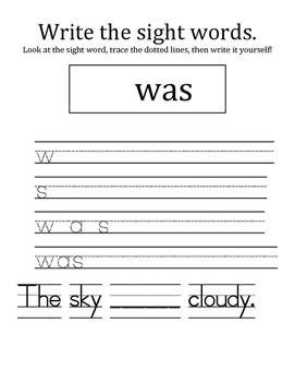 Fry's sight word list- writing