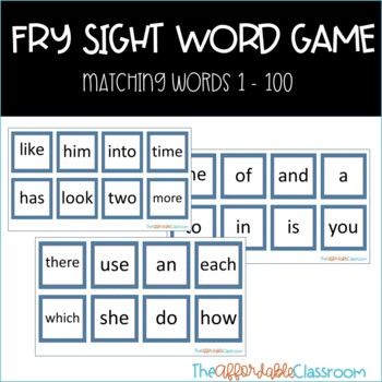 Fry sight word matching game first 100 fry words