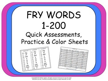 Fry words 1-200 review lists