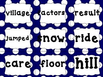 Fry words list 7 blue polka dot med size.