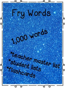 Fry words: lists/flashcards