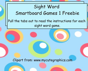Sight words smartboard games Freebie