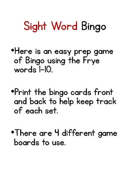 Frye 1-10 Sight Word Bingo