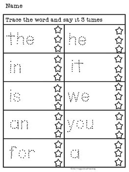 Sight Word Trace (Fry's 1st 100)