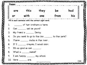 Fill-In Sentences (Fry's 100, 200)