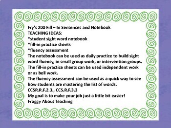 Fry's Second: 100 Fill-In Sentences and Notebook