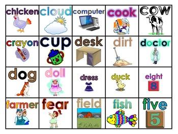 Fry's 100 Picture Nouns (Voc. Words) Study Mats (20 Words Per Mat)