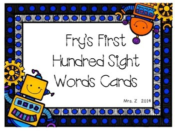 Fry's 100 Sight Words Robot Cards