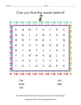 Fry's 100 Sight Words - Bundle of 20 pages of Sight Words Word Searches