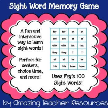 Fry's 100 Sight Words Memory/Concentration Game!
