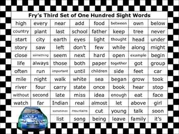 Fry's 1000 Sight Words Posters (Race Car Theme)