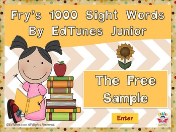 "Fry's 1000 Sight Words by EdTunes Jr. ""The Free Sample"""