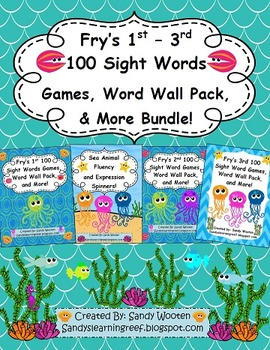 Fry's 1st - 3rd 100 Sight Words, Games, Word Wall Pack and More Bundle!