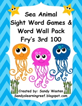 Fry's 3rd 100 Ocean Themed Sight Word Games, Word Wall Pack, and More!