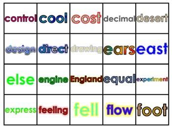 Fry's Eighth 100 Vocabulary Words Study Mats (20 Words Per Mat)