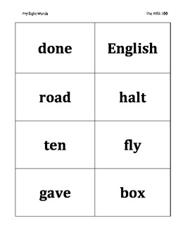 Fry's Fifth 100 Sight Word Flashcards