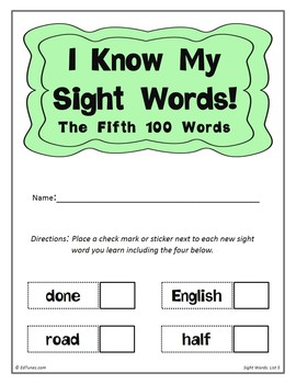 Fry's Fifth 100 Sight Words Flash Cards by EdTunes Jr.