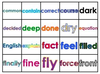 Fry's Fifth 100 Vocabulary Words Study Mats (20 Words Per Mat)