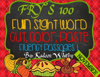 Fry's First 100 Sight Word Cut and Paste Fluency Passages