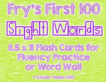 Fry's First 100 Sight Word Flash Cards and Word Wall Cards