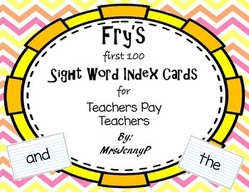 Fry's First 100 Sight Word Index Cards