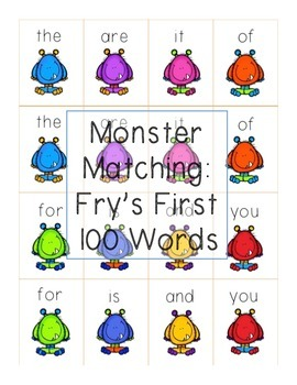 Fry's First 100 Sight Words - Monster Matching!