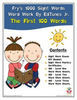 Fry's First 100 Sight Words Work by EdTunes Jr.