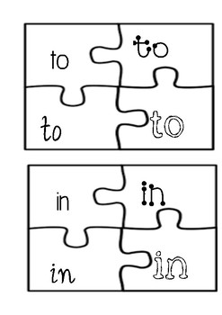 Frys First 100 Sight words puzzle activity
