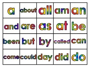 Fry's First 100 Vocabulary WordsStudy Mats(20 Words Per Mat)