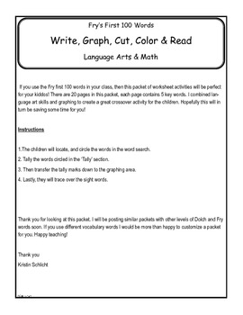 Fry's First 100 Word, Search & Graph Literacy and Math