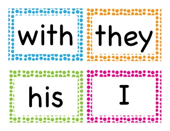 Fry's First 100 Word Wall Words-Polka dot theme