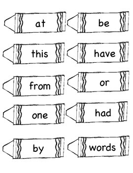 Fry's First 100 Words Crayon Cards