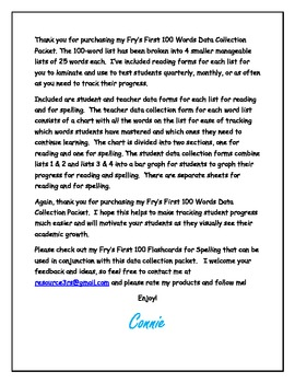 Fry's First 100 Words Data Collection Forms Packet