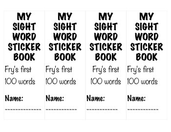 Fry's First 100 Words Sticker Books