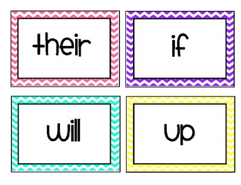 Fry's First 100 Words - Word Wall Cards