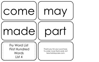 Fry's First Hundred List 4 Flash Cards.  High Frequency Kindergarten and 1st.