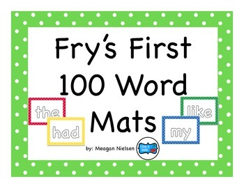 Fry's First and Second 100 Kinesthetic Word Mat Bundle