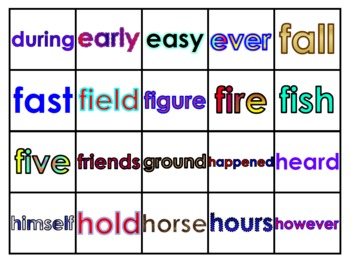 Fry's Fourth 100 Vocabulary Words Study Mats (20 Words Per Mat)