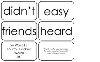 Fry's Fourth Hundred List 1 Flash Cards.  High Frequency 4th and 5th Grade.