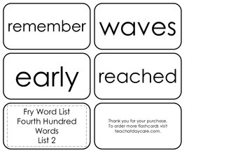 Fry's Fourth Hundred List 2 Flash Cards.  High Frequency 4th and 5th Grade.