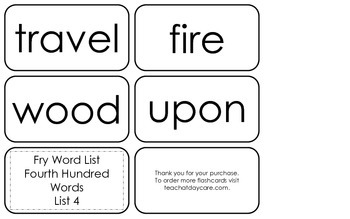 Fry's Fourth Hundred List 4 Flash Cards.  High Frequency 4th and 5th Grade.