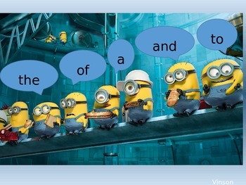 Frys High Frequency Word List Flashcards- Minion 1st set