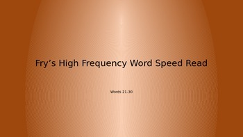 Fry's High Frequency Word Race (21-30)