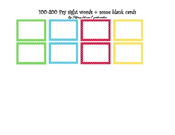 Fry's High Frequency word 100-200 polka dot cards